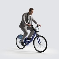 Ben riding bicycle Business