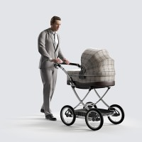Ben walking with stroller Business