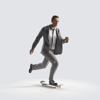 Ben on the skateboard, fast Business