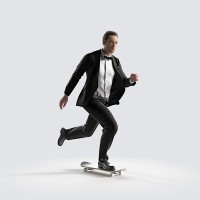Ben on the skateboard, fast Elegant Bow Tie