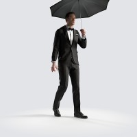 Ben holding shallow umbrella Elegant Bow Tie