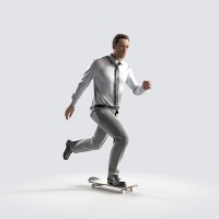 Ben on the skateboard, fast Office Work