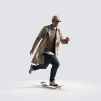 Ben on the skateboard, fast Smart Casual