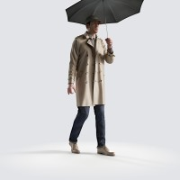 Ben holding shallow umbrella Smart Casual
