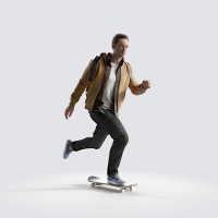 Ben on the skateboard, fast Young Adult