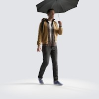 Ben holding shallow umbrella Young Adult