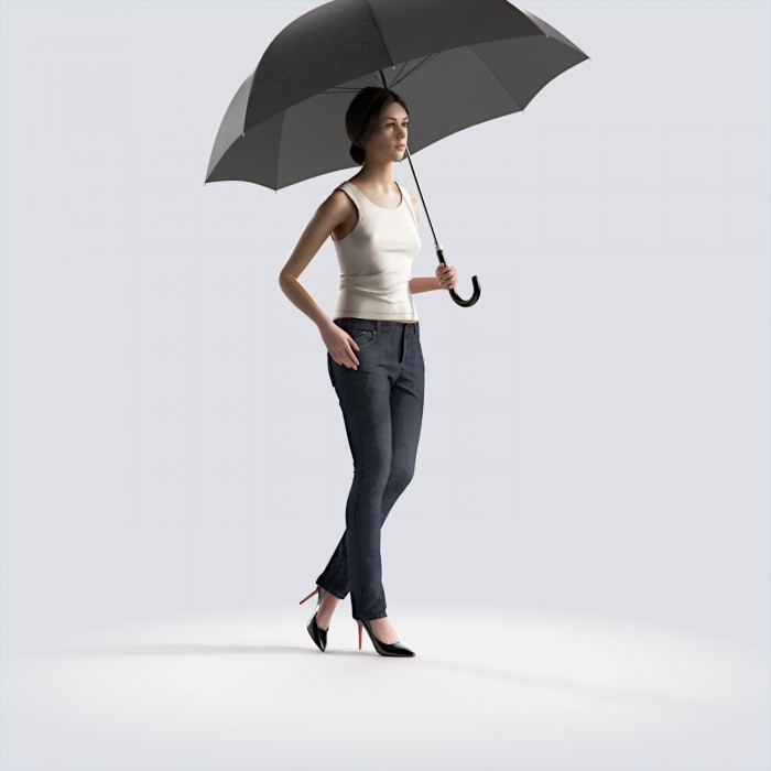 Steph standing with umbrella Casual Basic Tanktop