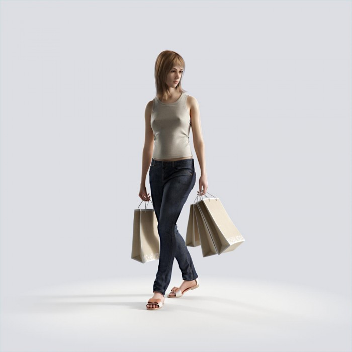 Steph looking left, holding bags Casual Basic Tanktop